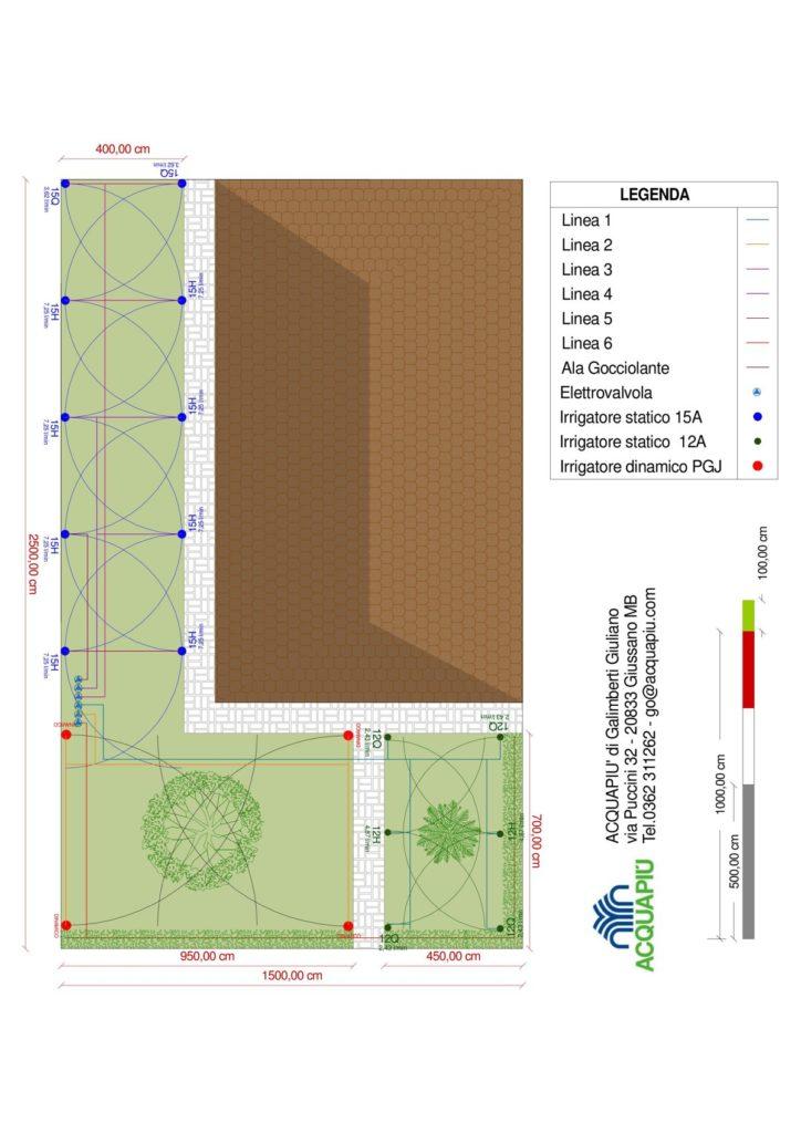 progetto impianto di irrigazione giardino villetta a L